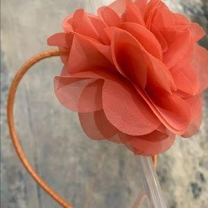 J crew rose flower ribbon headband new coral